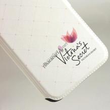 Кожен калъф Flip тефтер Flexi със стойка за Lenovo Vibe S1 Lite - бял / Victoria`s Secret