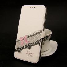 Кожен калъф Flip тефтер Flexi със стойка за Apple iPhone 5 / iPhone 5S / iPhone SE - бял / розова панделка / Victoria`s Secret