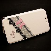 Кожен калъф Flip тефтер Flexi със стойка за Lenovo Moto Z Play - бял / розова панделка / Victoria`s Secret