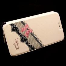 Кожен калъф Flip тефтер Flexi със стойка за Lenovo Vibe C / A2020 - бял / розова панделка / Victoria`s Secret