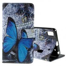Кожен калъф Flip тефтер със стойка за Lenovo A7000 / K3 Note - сив / синя пеперуда