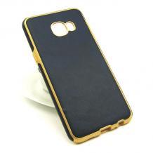 Силиконов калъф / гръб / TPU за Samsung Galaxy C5 - тъмно син / имитиращ кожа