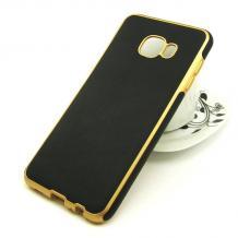 Силиконов калъф / гръб / TPU за Samsung Galaxy C5 - черен / имитиращ кожа