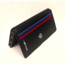 Кожен калъф Flip тефтер със стойка за Apple iPhone 5 / iPhone 5S / iPhone SE - BMW / MPower / черен с червено