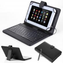 """Универсален кожен калъф с кирилизирана клавиатура и стойка за таблет 7"""" - черен"""