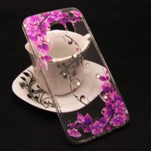 Луксозен силиконов калъф / гръб / TPU с камъни за Samsung Galaxy S6 G920 - прозрачен / лилави цветя