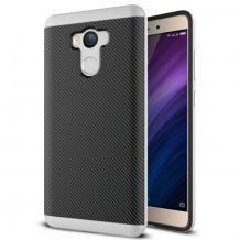 Силиконов калъф / гръб / TPU за Xiaomi RedMi 4 - черен / сребрист кант / Carbon