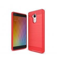 Силиконов калъф / гръб / TPU за Xiaomi RedMi 4 - червен / carbon
