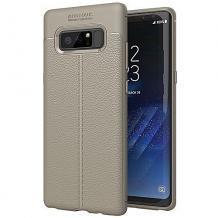 Луксозен силиконов калъф / гръб / TPU за Samsung Galaxy Note 8 N950 - сив / имитиращ кожа