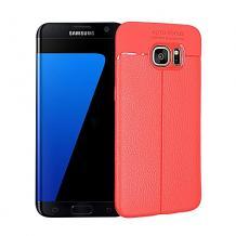 Луксозен силиконов калъф / гръб / TPU за Samsung Galaxy S7 G930 - червен / имитиращ кожа