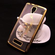 Луксозен силиконов калъф / гръб / TPU / Elegant с камъни за Lenovo A2010 - прозрачен със златист кант / перо