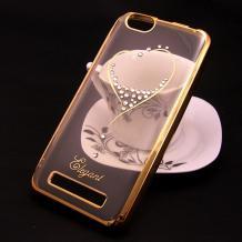 Луксозен силиконов калъф / гръб / TPU / Elegant с камъни за Lenovo Vibe C / A2020 - прозрачен със златист кант / сърце
