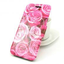 Кожен калъф Flip тефтер със стойка за Lenovo Vibe C / A2020 - розови рози