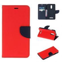 Луксозен кожен калъф Flip тефтер със стойка MERCURY Fancy Diary за Xiaomi RedMi Note 3 - червен