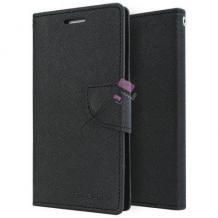 Луксозен кожен калъф Flip тефтер със стойка MERCURY Fancy Diary за Lenovo Moto G5 Plus - черен