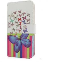 Кожен калъф Flip тефтер със стойка за Lenovo K6 Note - бял / пеперуди