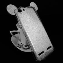 Луксозен силиконов калъф / гръб / TPU 3D за Lenovo Vibe K5 / Vibe K5 Plus / A6020 - сребрист / брокат / миши ушички / 2в1