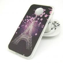 Силиконов калъф / гръб / TPU за Motorola Moto E5 Plus - Айфелова кула / лилави цветя