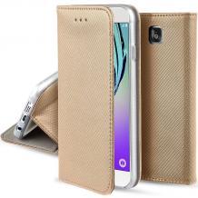 Кожен калъф Magnet Case със стойка за Apple iPhone 5 / iPhone 5S / iPhone SE - златист