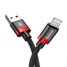 Оригинален USB кабел BASEUS Golden Belt 2A за зареждане и пренос на данни 2в1 1m за Apple iPhone 7 / iPhone 8 / iPhone X - черен с червено