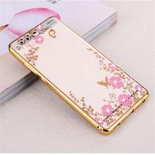 Луксозен силиконов калъф / гръб / TPU с камъни за Xiaomi Mi 6 - прозрачен / розови цветя / златен кант