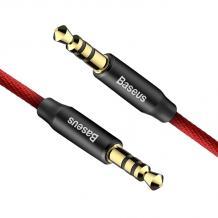 Аудио кабел AUX BASEUS YIVEN M30 3.5мм 1m - черен с червено