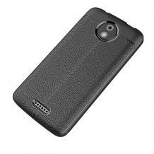 Луксозен силиконов калъф / гръб / TPU за Lenovo Moto C - черен / имитиращ кожа