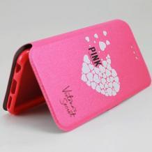 Кожен калъф Flip тефтер Flexi със стойка за Lenovo Moto Z Play - розов / сърца / Victoria`s Secret