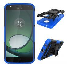 Силиконов гръб TPU Hybrid Armored с твърда част и стойка за Lenovo Moto Z Play - черно със синьо