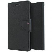 Луксозен кожен калъф Flip тефтер със стойка MERCURY Fancy Diary за Xiaomi Redmi Note 2 - черен