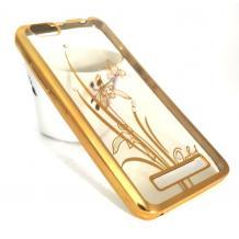 Луксозен силиконов калъф / гръб / TPU / Elegant с камъни за Lenovo Vibe C / A2020 - прозрачен със златист кант / цвете / пеперуда
