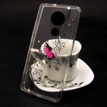 Луксозен силиконов калъф / гръб / TPU за Motorola Moto E5 - прозрачен / розова пеперуда