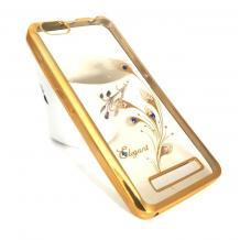 Луксозен силиконов калъф / гръб / TPU / Elegant с камъни за Lenovo Vibe C / A2020 - прозрачен със златист кант / перо