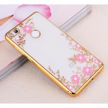 Луксозен силиконов калъф / гръб / TPU с камъни за  Xiaomi RedMi 3S - прозрачен / розови цветя / златен кант