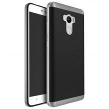 Силиконов калъф / гръб / TPU за Xiaomi RedMi 4 - черен / ромбове / сребрист кант