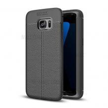 Луксозен силиконов калъф / гръб / TPU за Samsung Galaxy S6 G920 - черен / имитиращ кожа