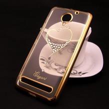 Луксозен силиконов калъф / гръб / TPU / Elegant с камъни за Lenovo Vibe C2 - прозрачен със златист кант / сърце