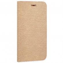 Луксозен кожен калъф Flip тефтер Vennus за Apple iPhone X - златист