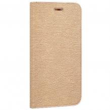 Луксозен кожен калъф Flip тефтер Vennus за LG Q6 - златист
