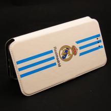 Кожен калъф Flip тефтер Flexi със стойка за Lenovo Vibe C2 - Real Madrid / Adidas / бяло със синьо