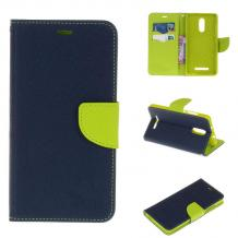 Луксозен кожен калъф Flip тефтер със стойка MERCURY Fancy Diary за Lenovo P2 - тъмно син
