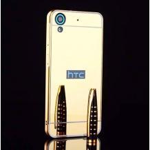 Луксозен алуминиев бъмпер с твърд гръб за HTC Desire 650 - златист / огледален