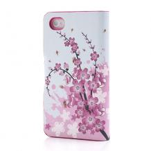 Кожен калъф Flip тефтер със стойка за Apple iPhone 4 / iPhone 4S - peach blossom
