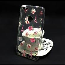 Луксозен силиконов калъф / гръб / TPU с камъни за Xiaomi Redmi Note 5A - Айфелова кула и цветя