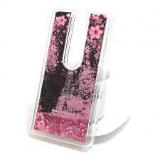 Луксозен твърд гръб 3D за Nokia 6.1 Plus / Nokia X6 - лилави цветя / айфелова кула / розов брокат
