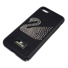 Луксозен твърд гръб Swarovski за Apple iPhone 7 / iPhone 8 - черен / камъни / Swan