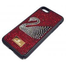 Луксозен твърд гръб Swarovski за Apple iPhone 7 / iPhone 8 - черен / червени камъни / Swan