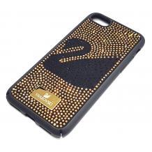 Луксозен твърд гръб Swarovski за Apple iPhone 7 / iPhone 8 - черен / златисти камъни / Swan