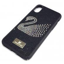 Луксозен твърд гръб Swarovski за Apple iPhone XS Max - черен / камъни / Swan