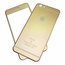 Алуминиев скрийн протектор 360° за Apple iPhone 6 / iPhone 6S - златист / лице и гръб
